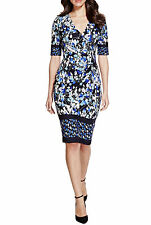 M&S Per Una Women's Party Occasions Blue Mix Fitted Stretch Pencil Dress UK- 12