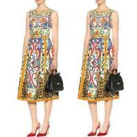Womens Floral Print Runway Highwaist Swing Sleeveless Vest Dress Knee Length Hot
