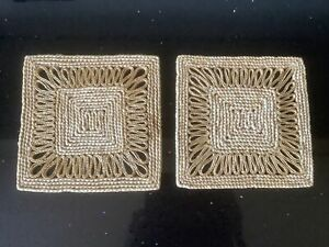 Set of 2 Square (17.5cm) Woven/Straw Placemats VGC