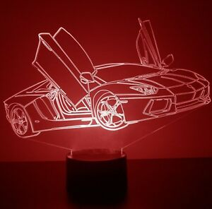 Sports Car Night Light Personalized FREE Light Up 3D Illusion LED Night Lamp
