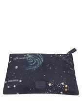 Valentino Navy Blue Nylon Cosmos Print Zip Pouch Handbag