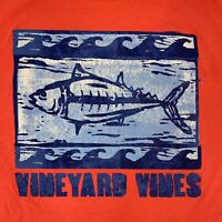 VINEYARD VINES Men's Pocket Tshirt S/S Woodblock Tuna Sz L Coral - NEW With TAGS