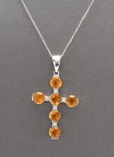 2.45 Carat Natural Madeira Citrine and Diamond in 14K White Gold Cross Pendant