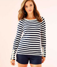 Lilly Pulitzer NWT Dinah Crewneck Sweater True Navy Two Color Positano 🌴 $98