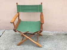 Vintage Director Commander Chair Mid Century Folding Green Canvas Wood walnut