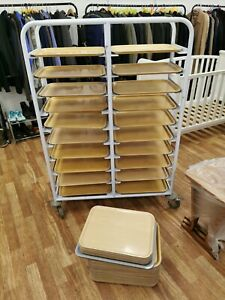 20 LEVELS  CATERING TRAY SHELVING RACKING Trolley + EXTRA TRAYS