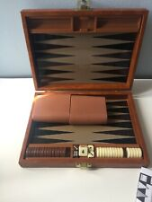 Vintage Small Brown Backgammon Travel Case