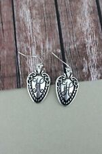 "Spoon Earrings 1"" Monogram H Initial Script fish hook 1.5""drop"