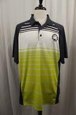 Sport-Tek Mens X-LARGE Gray White Neon Striped Golf Polo Shirt XL Short Sleeves