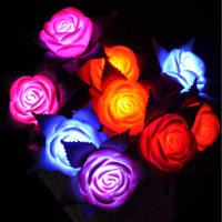 6 Roses LED Flowers Valentines Red Pink Romantic Plastic Light Up Set Wedding