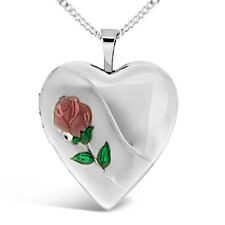 Sterling Silver Heart Locket with Red Rose - Made in the UK
