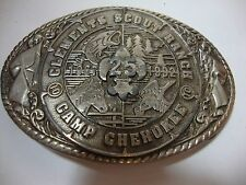 Vintage CAMP CHEROKEE Clements Scout Ranch STAFF Belt Buckle Circle Ten Council