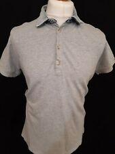 Diesel Polo Shirt - Size L - Grey - Pique Cotton - Denim Collar