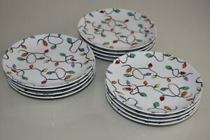 NEW Pottery Barn 12 Pc SET Plates CHRISTMAS LIGHTS APPETIZER PLATE 60 available