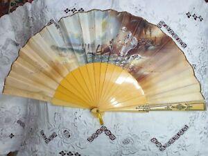 Antique Hand painted Edwardian face fan celluloid c1900
