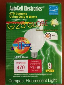 CFL 9w G25 GLOBE Light Bulb -- Lasts up to 11 YEARS, and SAVES $$!