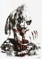 Wolf Blut Kampf Tod Temporary Temporäre Klebe Einmal Tattoo 15 x 21 cm HB341