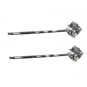2 Pairs Set Diamond Crystal Kirby Grips Bobby Pins Slide Hair Bridal Clips xx
