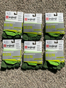 Injinji Toe Socks 6 Pair No Show Run Lightweight Perf 2.0 Chive Green Small S