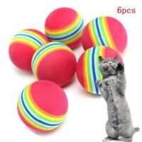 Funny 6pcs Colorful Pet Cat Dog Kitten Soft Foam Rainbow Play Balls Toys Hot