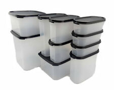 Tupperware Modular Mates Oval & Square Set of 10 Airtight Container Black Seal