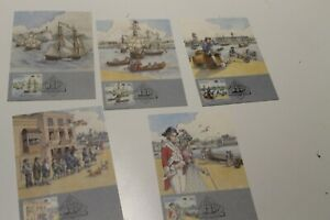 1987 THE FIRST FLEET DEPARTURE STAMP  MAXI CARDS SET OF 5