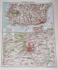 1924 ORIGINAL VINTAGE MAP OF VICINITY OF MADRID / SPAIN / LISBON PORTUGAL
