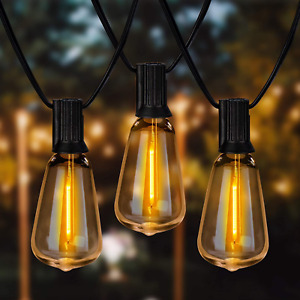 Newpow Outdoor String Lights 36ft with LED Filament Bulbs 30+2Spare Dimmable for