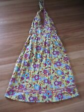 LADIES GREEN FLORAL COTTON HALTER NECK SLEEVELESS DRESS BY PEACE ANGEL SIZE 10