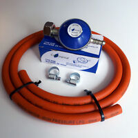 BUTANE GAS REGULATOR + HIGH PRESSURE HOSE & CLIPS
