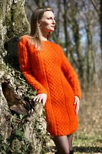 Orange sexy dress fuzzy mohair cable sweater hand knitted tunic SuperTanya