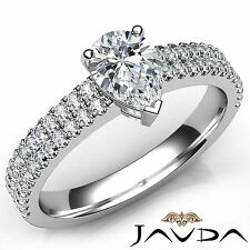 Pear Cut Diamond Engagement GIA F VS2 Platinum 950 U Shape Prong Set Ring 1.21Ct