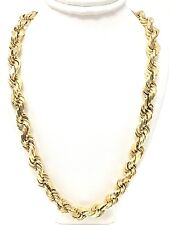 """14k Yellow Gold Solid Heavy 26"""" Diamond Cut Rope Chain Necklace 9.5mm 159 grams"""