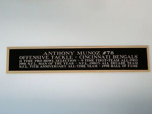 Anthony Munoz Cincinnati Bengals Nameplate For A Football Display Case 1.5 X 6