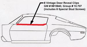 8 VINTAGE DOOR REVEAL MOLDING CLIPS & STUD REPAIR SCREWS! TRANS AM FIREBIRD Z28
