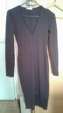 robe col v coupe droite manches longue prune taille S
