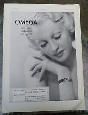December, 1936 French-Omega Watch Ad-Beautiful Blond Woman w/ Waterman Pen Ad