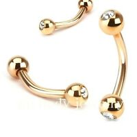 """1pc. 16g~5/16"""", 3/8"""" Rose Gold IP 316L Curved Eyebrow Barbell with CZ Gem Balls"""