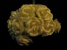 """Vintage Millinery Flower Doll 1"""" Satiny Rose Lot Yellow G9x"""