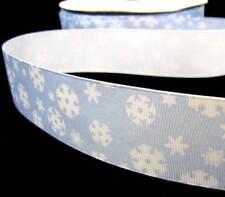 "5 Yards Christmas Blue White Snowflake Grosgrain Ribbon 1 1/2""W"
