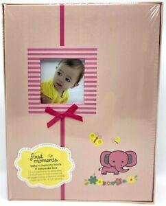SEALED First Moments Baby Memory Book Keepsake Storage Box Pink Elephant Flowers