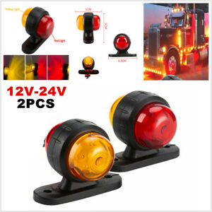 12-24V 2PCS Grille Strobe Lights Side Marker Flash Warning Dual-Color Lamp Amber