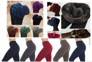Ladies Thick Winter Thermal Leggings heavy  Fleece Lined Warm High Waist