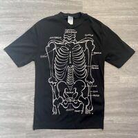 Vintage Unisex Single Stitch Black T-Shirt Skeleton Bones fit Size 12 - 14
