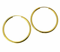 14K Real Yellow Gold 2mm Thickness High Polished Endless Hoop Earrings 30mm