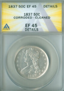 1837 CAPPED BUST HALF DOLLAR ANACS XF-45 DETAILS FREE S/H (2126355)