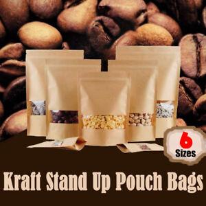 10-200x Stand Up Bag Kraft Paper Seal Packaging Window Zip Lock Pouch Sealing AU