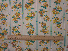 """VINTAGE 35 Inch COTTON """"YELLOW ROSES""""  Quilting & Sewing Fabric BTHY"""