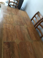 Dining table 6 seats mango wood with flagstone inlay, 6 chairs inc 2 carvers