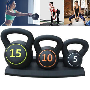 3pcs Kettlebell Set Kettlebells Weight Weights Sets Exercise Gym+Rack Stand